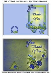 Set Of Floral Steampunk Thank You Notelets