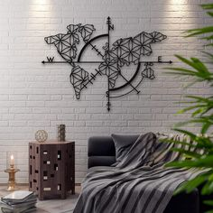 Afcultures [Metal wall art] Metal World Map - 30x30in