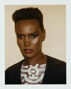 // Grace Jones Polaroid by Andy Warhol (rocking Keith Haring paint and a blazer. WERK!)
