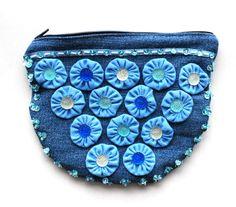 COSMETIC BAG DENIM FLOWERS #025