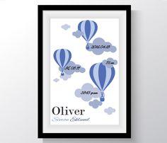 Namntavla Luftballonger blå
