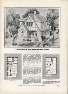 Homes of Today~Sears Kit Architectural Floor Plans, Architectural Prints, Arched Front Door, Vintage House Plans, Vintage Homes, House Plans With Pictures, Duplex Plans, Sims House Design, Traditional House Plans