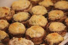 Mushrooms stuffed with boursin & parmesan, courtesy of Dani Nichols
