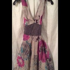 Free People multi- color lace floral dress New Free People floral gray combo v-neck she at dress, size 8, lace waist, knee-length dress, lined, zip closure, drawstring shoulder. New with tags. Free People Dresses
