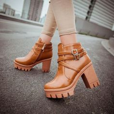 c246851dbe1d7 Trendy ankle strap casual heels boots - Ankle straps provide a touch of  elegance - Inner zipper for easy access - Made from PU - 9 cm heel height  ...