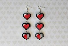 Zelda Life Hearts pixel bead earrings made from Perler beads/Hama beads/mini Hama beads by: on Etsy Hamma Beads 3d, Mini Hama Beads, Diy Perler Beads, Perler Bead Art, Fuse Beads, Seed Beads, Easy Perler Bead Patterns, Perler Bead Templates, Perler Earrings