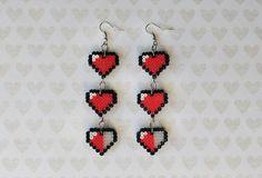 Zelda Hearts Earrings Mini Perler Beads Mini Hama by 8BitEarrings