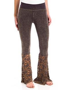 T Party Lace Block Yoga Pants Brown Small >>> You can get more details by clicking on the image.