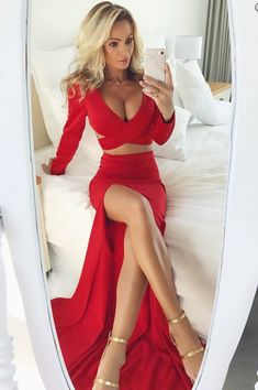 Two Piece Sheath V-Neck Long Sleeves Dark Red