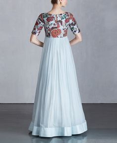 Ice Blue Koela Chiffon Dress Boy Dress, Long Gown Dress, Saree Dress, Chiffon Dress, Simple Gown Design, Long Dress Design, Indian Gowns Dresses, Maxi Dresses, Short Sleeve Dresses