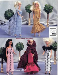 """DESIGNER GOWNS""~Crochet PATTERN BOOK fits BARBIE FASHION DOLL~5 Design~SEE PICS"
