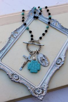 Vintage Rhinestone Turquoise Onyx and Religious Finding Necklace~