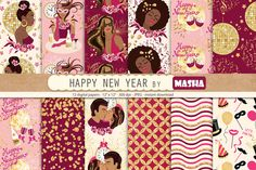 HAPPY NEW YEAR digital papers by Masha  Studio on @creativemarket
