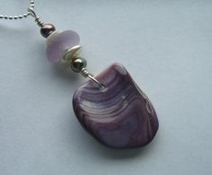 Wampum Shell Pearls and Lavender Sea Glass by BeachBaublesTM, $25.00
