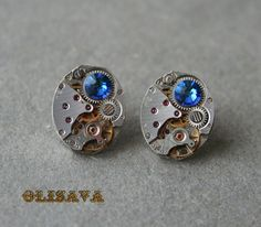 Steampunk Stud Earrings with  Mechanical Watch Movement and chameleon Blue Swarovski crystals , Steampunk Earrings , Steampunk jewelry
