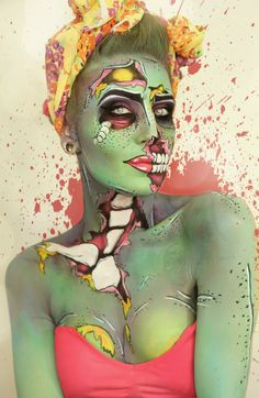 healthy breakfast ideas for kids age 9 to make 3 12 11 Halloween Inspo, Halloween Looks, Cool Costumes, Halloween Costumes, Halloween Gesicht, Pop Art Zombie, Pop Art Makeup, Art Visage, Zombie Makeup