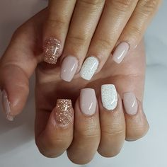 Cute nail deign , nude with white and rose gold glitter Square gel nails Www.Facebook.com/pinkypromisenailstudio