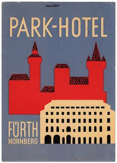 Park-Hotel Fürth Nuremberg vintage graphics  #luggagelabel