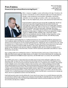 Executive Biography Example for CFO | Resume Examples | Pinterest ...
