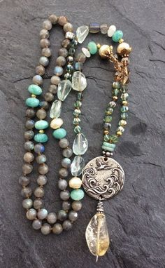 Beaded Jewelry Long boho knotted necklace - 'Grateful heart' pendant, layering bohemian chic, semi precious jewelry by Mollymoojewels by ester Bohemian Jewelry, Diy Jewelry, Jewelry Gifts, Beaded Jewelry, Jewelery, Vintage Jewelry, Jewelry Necklaces, Handmade Jewelry, Fashion Jewelry