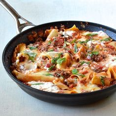 Healthy and easy skillet lasagna. More onion, pre cook noodles, maybe a dash of Italian seasoning.