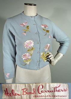 1950s Helen Bond Carruthers Blue Grey Cashmere Cardigan Sweater SZ M-L