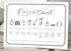 Custom Wedding Timeline Printable DIY by HeSawSparks on Etsy Wedding Timeline, Wedding Programs, Wedding Events, Weddings, Wedding Gifts For Parents, Wedding Favors For Guests, Wedding Order, Our Wedding, Wedding 2017
