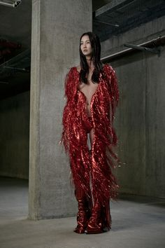Paula Knorr Amazing red sequin glittering fringe avant garde dress pants!