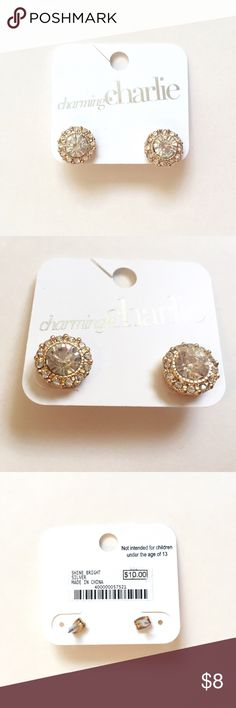 NWT Charming Charlie Gold Earrings Elegant one of a kind Charming Charlie gold diamond earrings, brand new with tag, compliments many outfits. Charming Charlie Jewelry Earrings