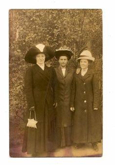 RPPC Three Women Hats Purse and Long Coats
