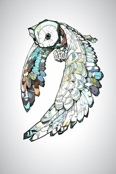 Owl art print by Joshua T Pearson, available from society6.com