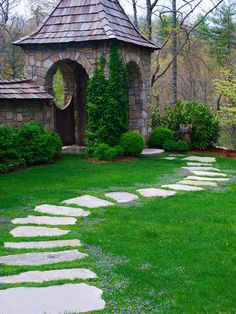 garden path - love how it meanders, with small bright flowers outlining - do snow drops?