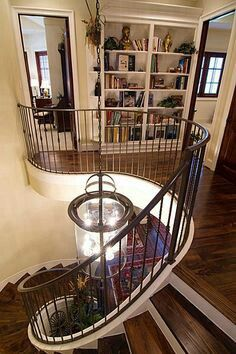Tanglewood recent construction. Love the spiral stairs! Home Renovation, Home Remodeling, Hardwood Floors, Dark Hardwood, Dark Wood, Flooring, Curved Staircase, Wood Stairs, Interior Stairs