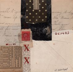 Small collage by Donna Watson     NOTE: ANOTHER WORKSHOP:  Oct. 1-2, 2015, A ZEN GARDEN with Folded Books.   A 2 day workshop in Virgi...