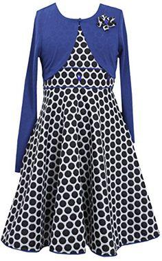 00516216997 Girls Plus Royal-Blue Black Dot Print Fit-N-Flare Dress Jacket