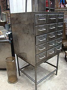 Old library cabinet spray painted to look Like industrial metal.... New storage drawers!