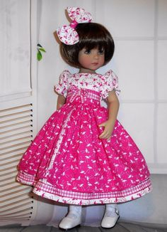 Handmade dress & hair bow compatible with Dianna Effner 13  little darling doll  | eBay