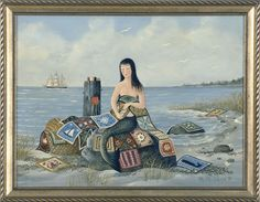 Mermaids and quilt, Ralph Cahoon painting.