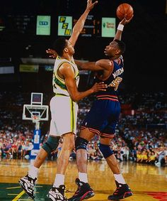 Denver upsets the way, way, way more powerful and awesome Sonics during the first round of the 1994 playoffs. A thousand doves fell to the ground and died at the end of this one.