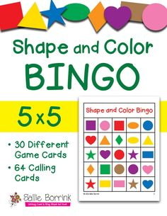 Shape and Color BINGO in 5x5 grids. Also available in 3x3 and 4x4 grids. Includes 30 different game cards so you can play with just a few students or the entire class!