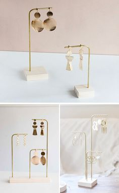Gift Ideas - MAKK Design have created a collection of modern jewelry holders that have a minimalist appearance, and can hold earrings and necklaces. holder Gift Ideas – Modern Jewelry Holders by MAKK Design Jewellery Storage, Jewellery Display, Jewelry Organization, Jewelry Display Stands, Earring Display, Diy Jewelry Stand, Jewelry Booth, Jewelry Ideas, Display Design
