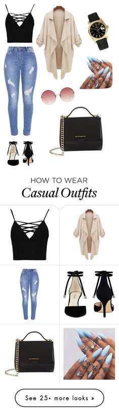 """Casual"" by paulina-mancilla on Polyvore featuring Boohoo, Nine West, Linda Farrow, Rolex and Givenchy"