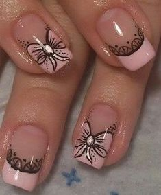 Nail Art Designs Videos, Ombre Nail Designs, Crazy Nail Designs, French Nail Designs, Pink Nail Art, Cute Acrylic Nails, Pink Nails, French Nail Art, French Tip Nails