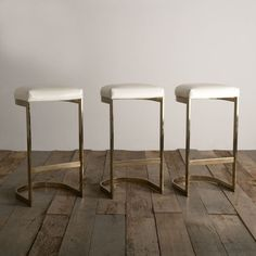 A Set of Three Cantilvered Brass Framed Barstools 1970s | From a unique collection of antique and modern stools at http://www.1stdibs.com/furniture/seating/stools/