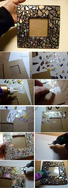 DIY home crafts DIY old cd mosaic mirror frame DIY home crafts Diy Photo, Diy Home Crafts, Decor Crafts, Easy Crafts, Old Cd Crafts, Creative Crafts, Kids Crafts, Shoebox Crafts, Cd Mosaic