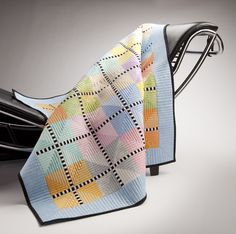 Modern Spool quilt by Tina Lewis quilted by Natalie at PieceNQuilt Scrappy Quilts, Baby Quilts, Quilting Projects, Quilting Designs, Quilting Ideas, Contemporary Quilts, Quilt Modern, Spool Quilt, Free Motion Quilting