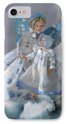 Fairy IPhone 7 Case featuring the painting Tenderness Snow Fairies by Nancy Lee Moran