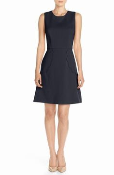Navy Crepe A-Line Dress with Pocket detail