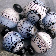 MruMru Handmade Lampwork Glass Bead  set. WINTER door magdalenaruiz, $49.00