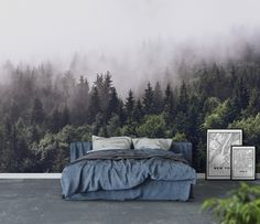 Wall mural Cloudy forest | Photo wallpaper | Fog - Happywall